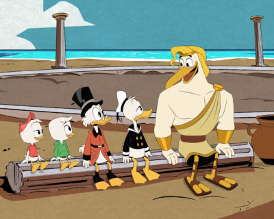 """DUCKTALES - """"The Spear of Selene!"""" - Donald is dragged into a feud between Scrooge and Zeus, while Dewey and Webby search for an artifact that may provide the truth about Dewey's mother. This episode of """"Ducktales"""" airs Friday, May 4 (8:00 - 8:30 P.M. EDT) on Disney Channel. (Disney Channel) HUEY, LOUIE, SCROOGE, DONALD, STORKULES"""