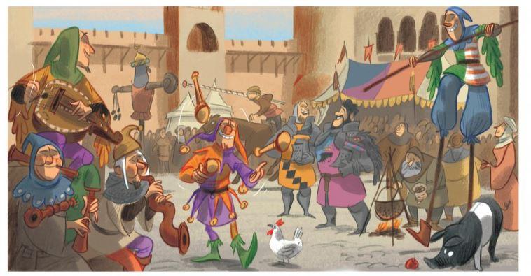 tosca-des-bois-tome-1-jeunes-filles-chevaliers-hors-la-loi-et-mc3a9nestrels-teresa-radice-stefano-turconi-ambiance-fete-mc3a9dic3a9vale